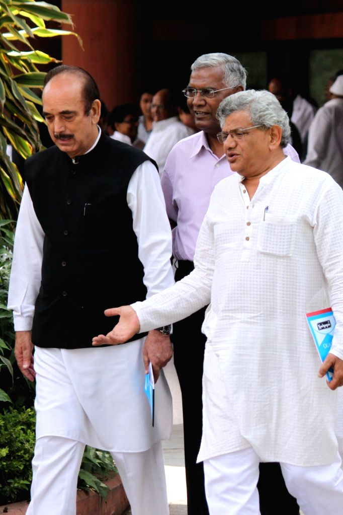 Congress leader Ghulam Nabi Azad, CPI(M) general secretary Sitaram Yechury and CPI leader D Raja after an all party meeting at Parliament House in New Delhi on Aug 3, 2015. - Sitaram Yechury