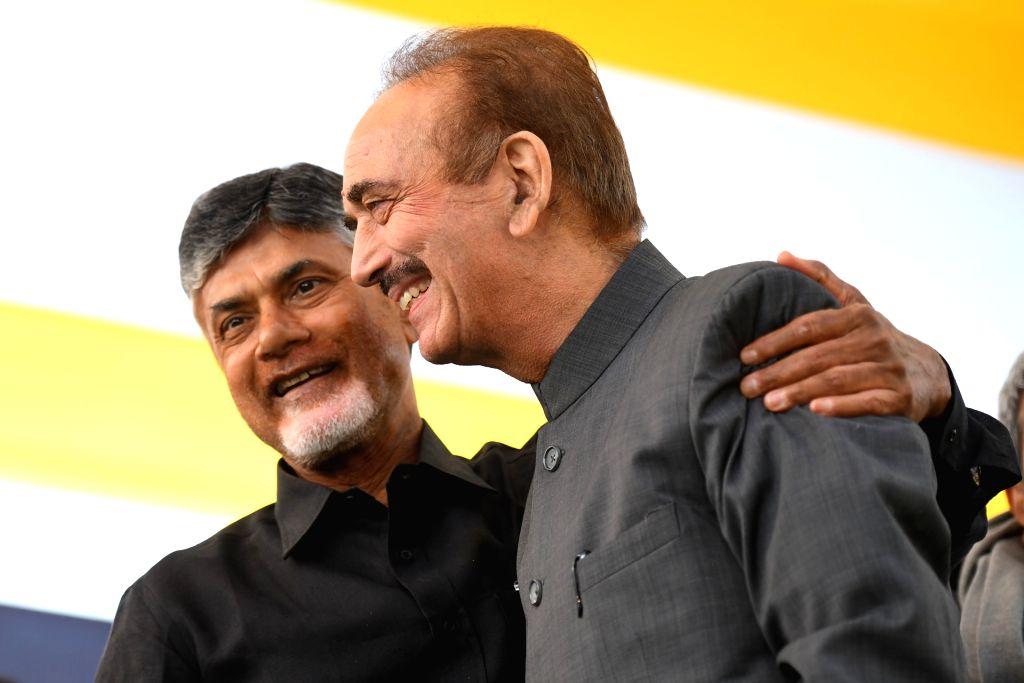 Congress leader Ghulam Nabi Azad with Andhra Pradesh Chief Minister N. Chandrababu Naidu, who began a 12-hour long fast demanding the Centre to accord special category status and fulfill ... - N. Chandrababu Naidu