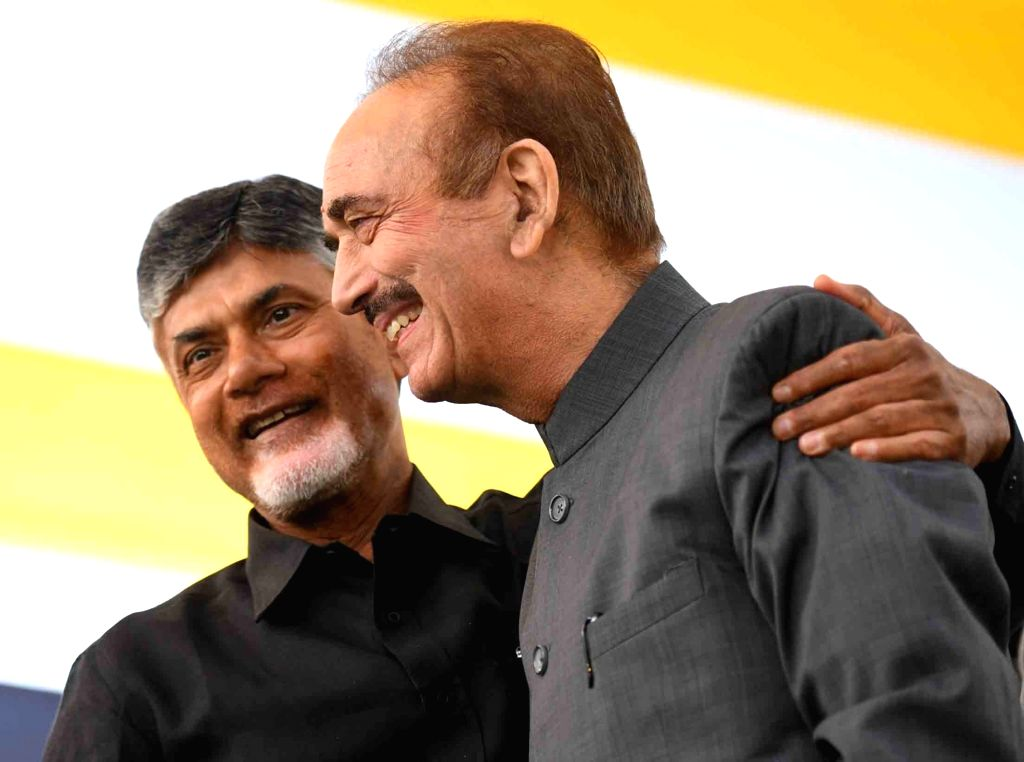 Congress leader Ghulam Nabi Azad with Andhra Pradesh Chief Minister N. Chandrababu Naidu, who began a 12-hour long fast demanding the Centre to accord special category status and fulfill ... - N. Chandrababu Naidu