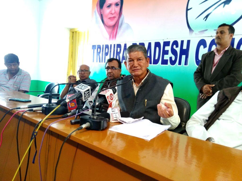 Congress leader Harish Rawat addresses a press conference in Agartala on Feb 15, 2018.
