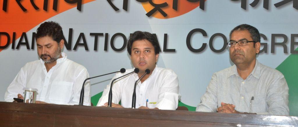 Congress leader Jyotiraditya Scindia addresses a press conference in New Delhi on June 19, 2017.