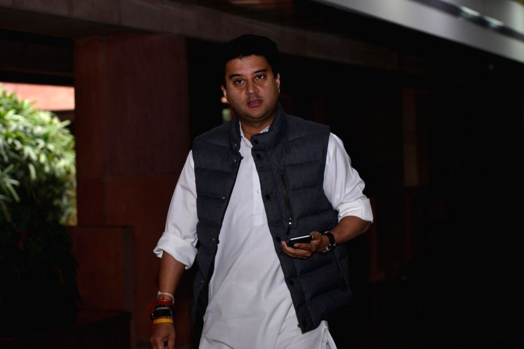 Congress leader Jyotiraditya Scindia departs after the all party meeting on the Pulwama terror attack at Parliament House, in New Delhi, on Feb. 16, 2019.