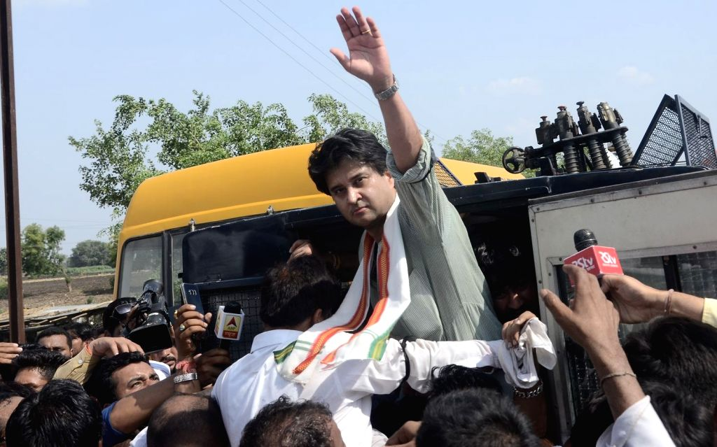 Congress leader Jyotiraditya Scindia detained in Dhodar of Madhya Pradesh while he was on his way to Mandsaur to meet the families of the farmers killed in police firing, on June 13, 2017.