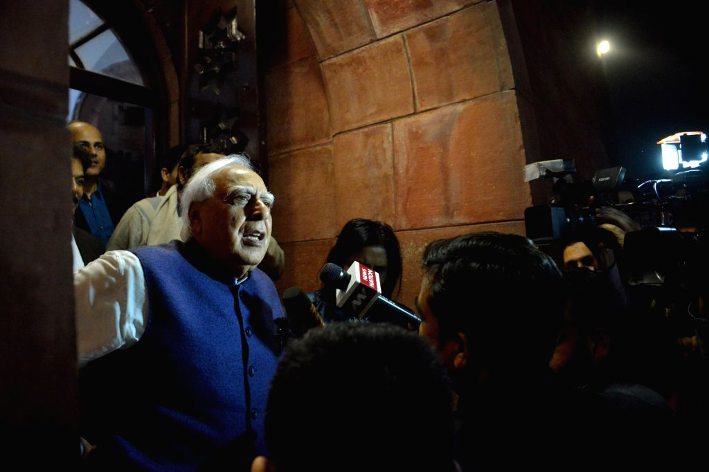Congress leader Kapil Sibal at Parliament House after The Citizenship ( Amendment) Bill was passed in Rajya Sabha in New Delhi on  Dec. 11, 2019.