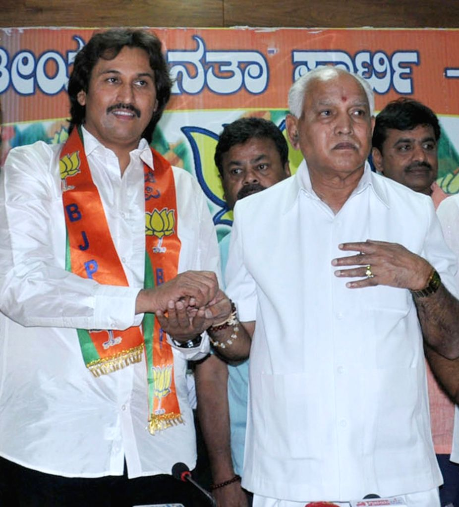 Congress leader Kumar Bangarappa joins BJP in presence of Karnataka BJP President BS Yeddiyurappa in Bengaluru on March 9, 2017.