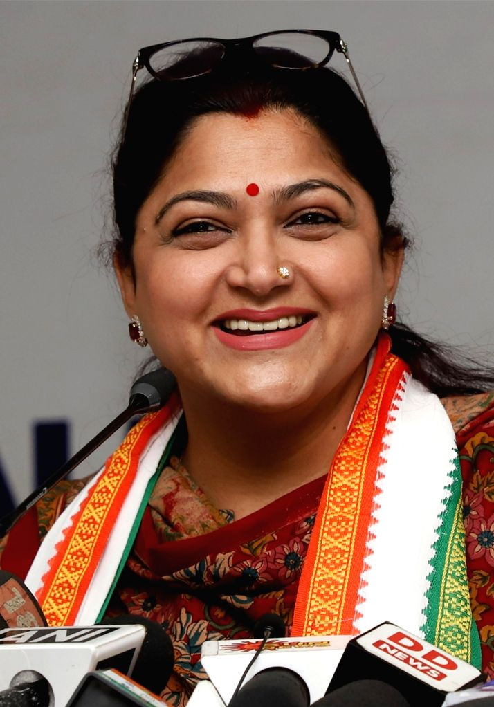 Congress leader Kushboo Sundar addresses during a press conference in Bengaluru on April 10, 2019.
