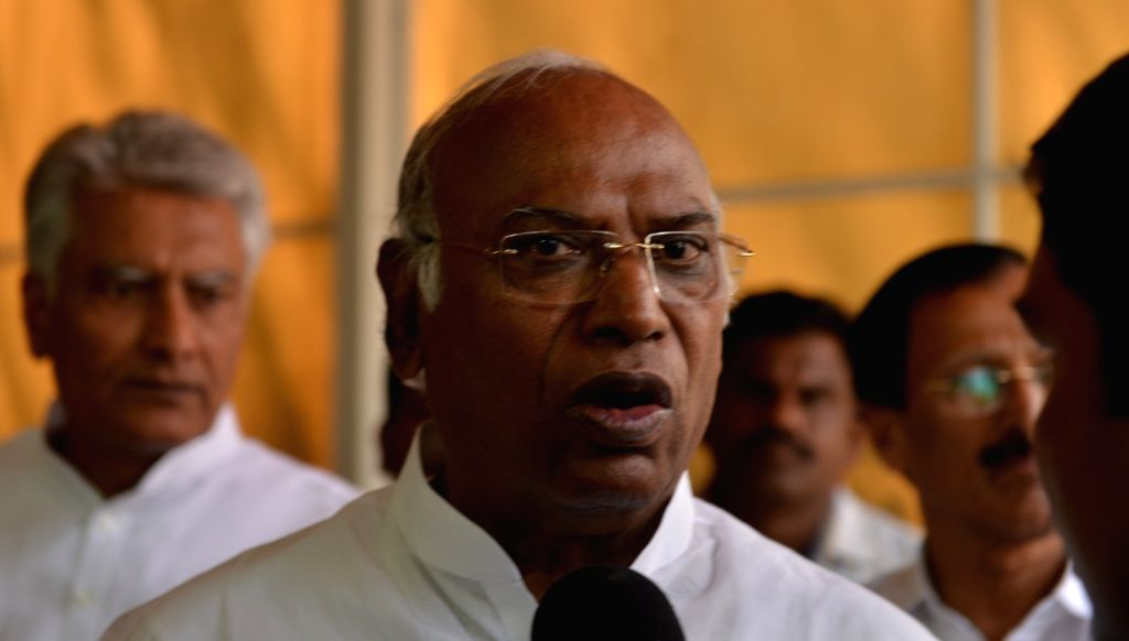 Congress leader Mallikarjun Kharge at Parliament on March 27, 2018