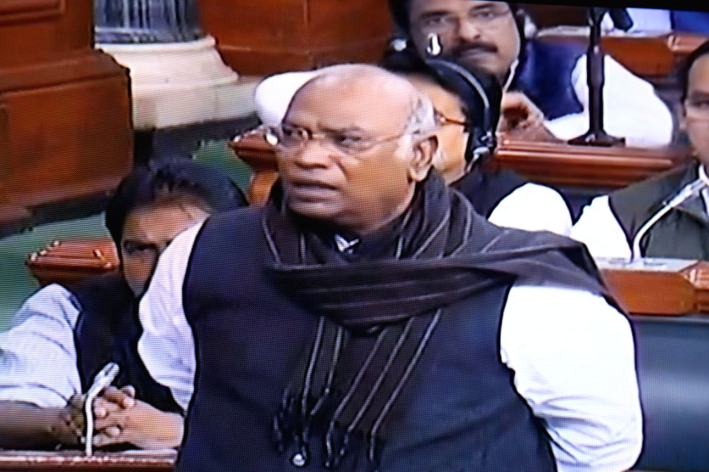 Congress leader Mallikarjun Kharge speaks in Lok Sabha during the Budget session of Parliament, in New Delhi on Feb 4, 2019.