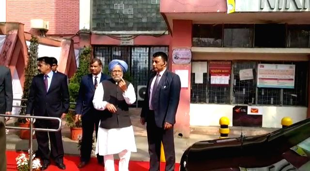 Congress leader Manmohan Singh leaves after casting his vote for the Delhi Assembly elections 2020 at a polling booth in central Delhi's Nirman Bhawan on Feb 8, 2020. - Manmohan Singh