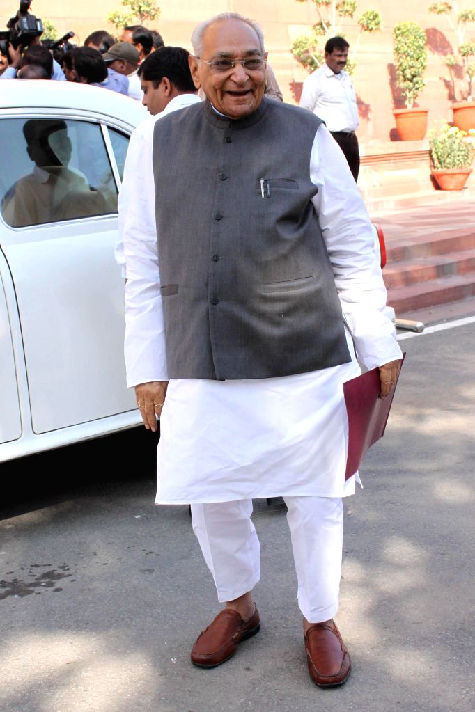 Congress leader Motilal Vohra at the Parliament premises in New Delhi, on Dec 1, 2014.