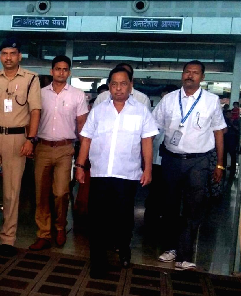 Congress leader Narayan Rane arrives at the Goa International Airport in Dabolim, Goa  on Sept 18, 2017.