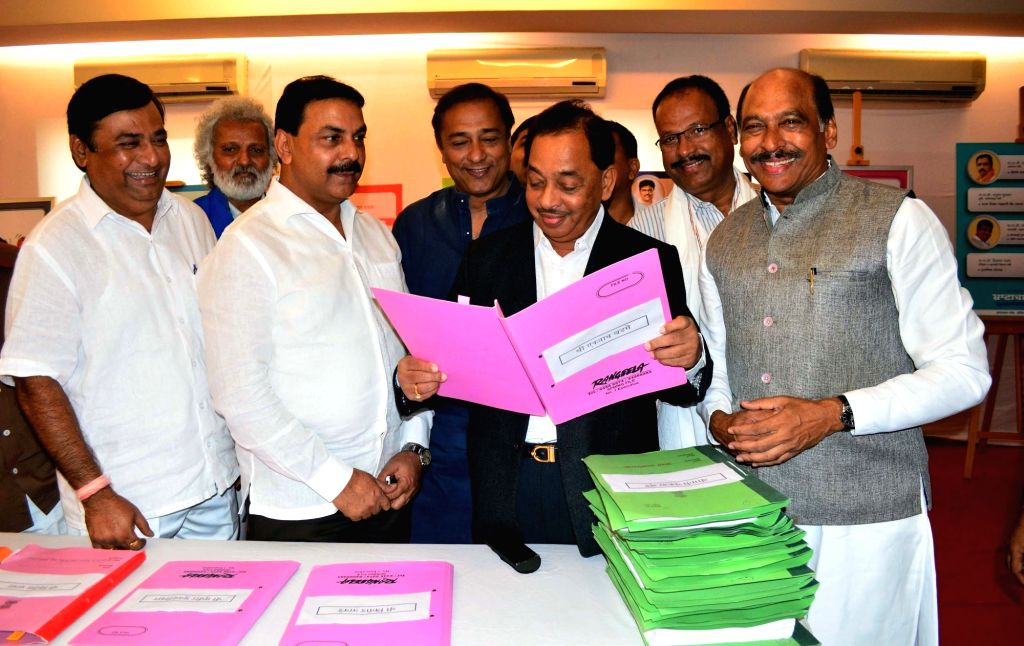 Congress leader Narayan Rane during a BJP ministers scam exhibition organised by Congress party in Mumbai on July 18, 2016.