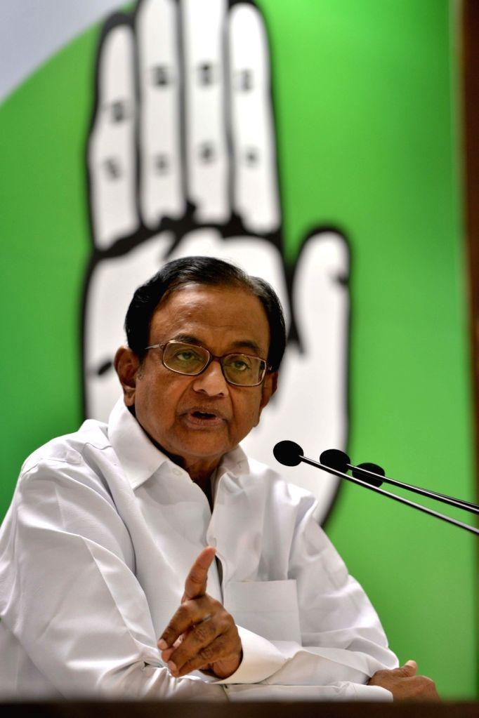 Congress leader P Chidambaram addresses a press conference in New Delhi on July 6, 2017.