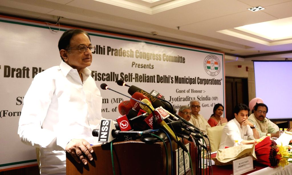 "Congress leader P Chidambaram addresses during a programme organised to release ""Draft Blue Print for Fiscally Self-Reliant Municipal Corporations"" in New Delhi, on March 6, 2017."