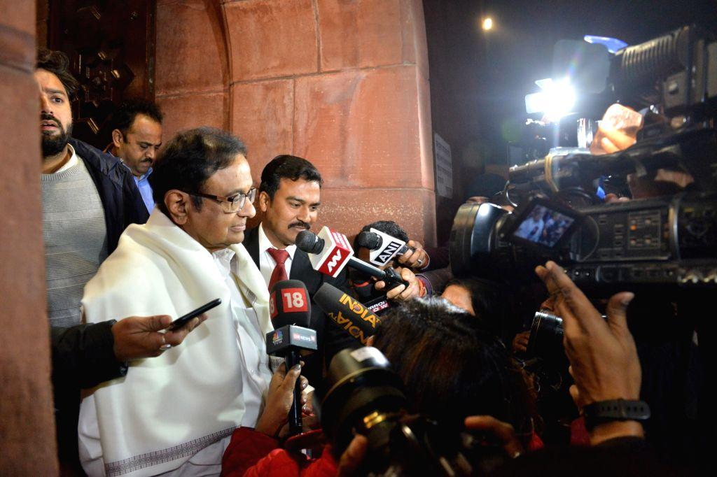 Congress leader P Chidambaram at Parliament House after the Citizenship ( Amendment) Bill was passed in Rajya Sabha in New Delhi on  Dec. 11, 2019.