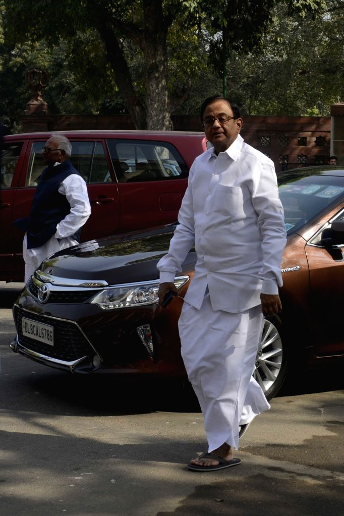 Congress leader P Chidambaram at the Parliament on Nov 21, 2016.