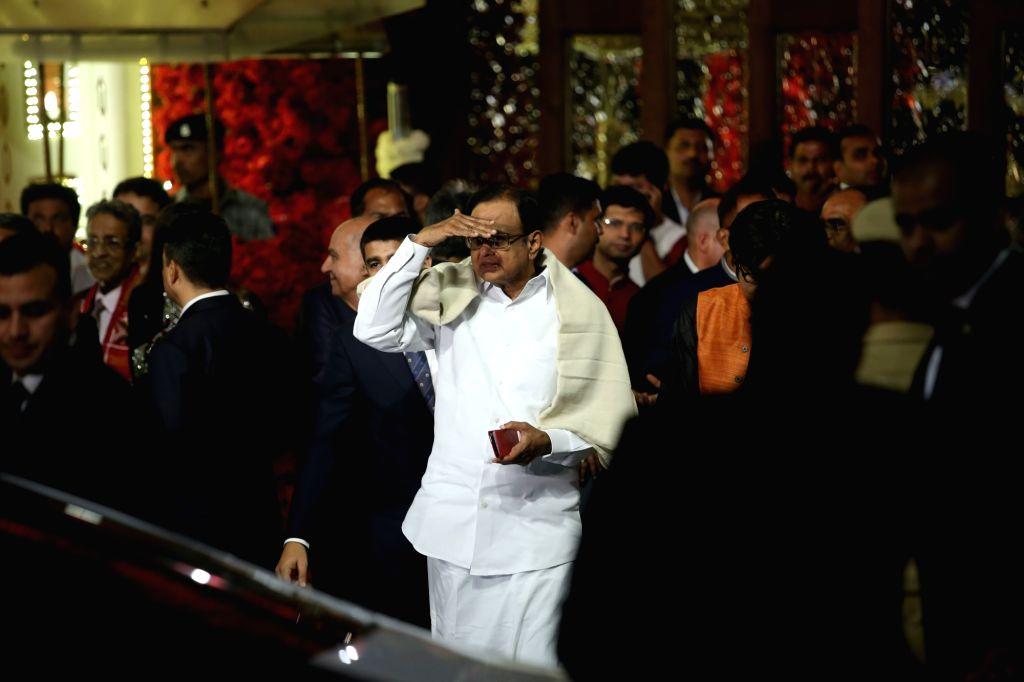 Congress leader P. Chidambaram at the wedding ceremony of industrialist Mukesh Ambani's daughter Isha Ambani and Anand Piramal at Antilia in Mumbai on Dec 12, 2018. - Mukesh Ambani and Isha Ambani