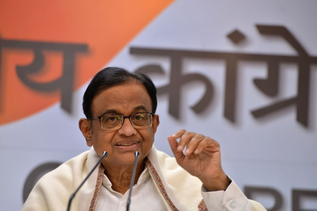 Congress leader P. Chidambaram during a press conference at Congress headquarters in New Delhi on Feb. 15, 2019.