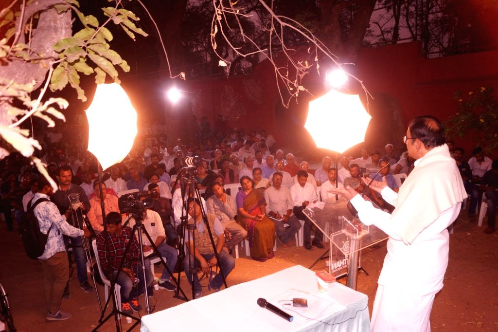 """Congress leader P. Chidambaram speaks about his book """"Undaunted: Saving the Idea of India"""" in Hyderabad on March 5, 2019."""