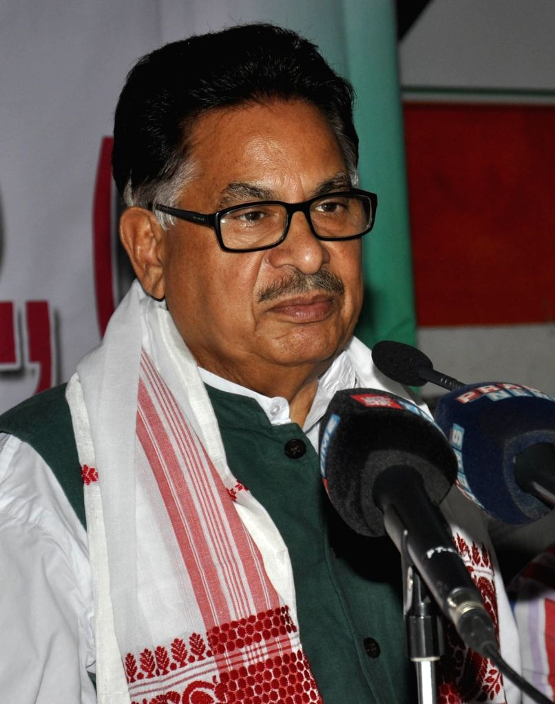 Congress leader P L Punia addresses a press conference in Guwahati, on May 26, 2016.