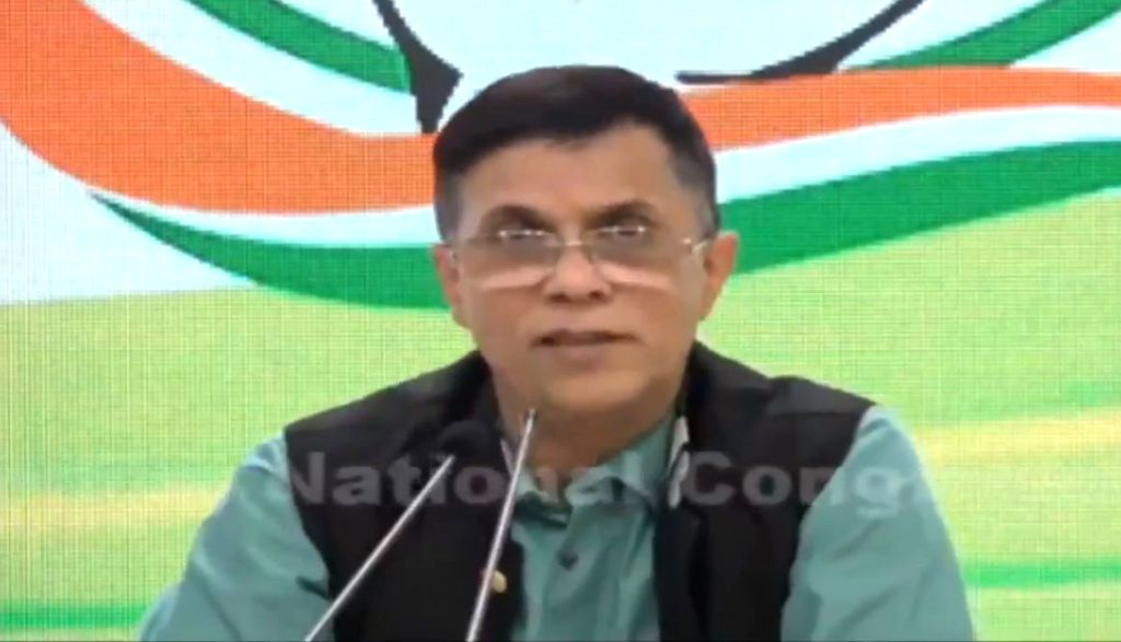 Congress leader Pawan Khera addresses a press conference at the party's headquarters in New Delhi on Oct 9, 2019.