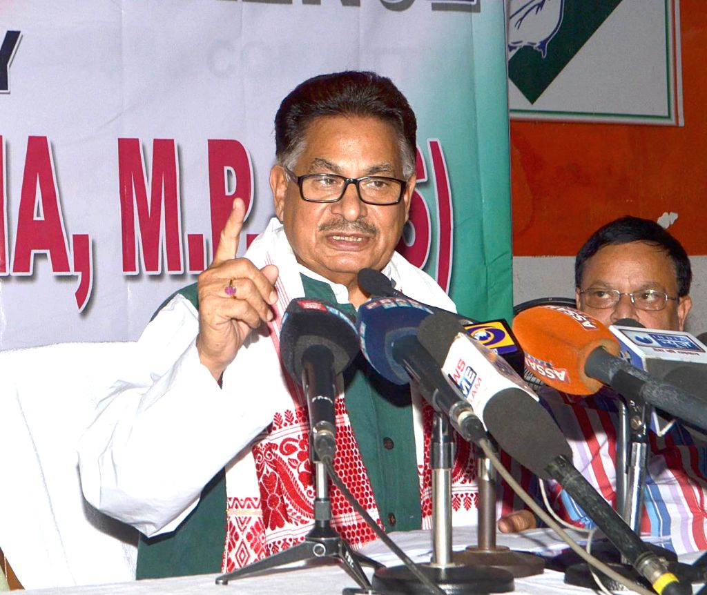 Congress leader PL Punia addresses a press conference in Guwahati on May 26, 2016.