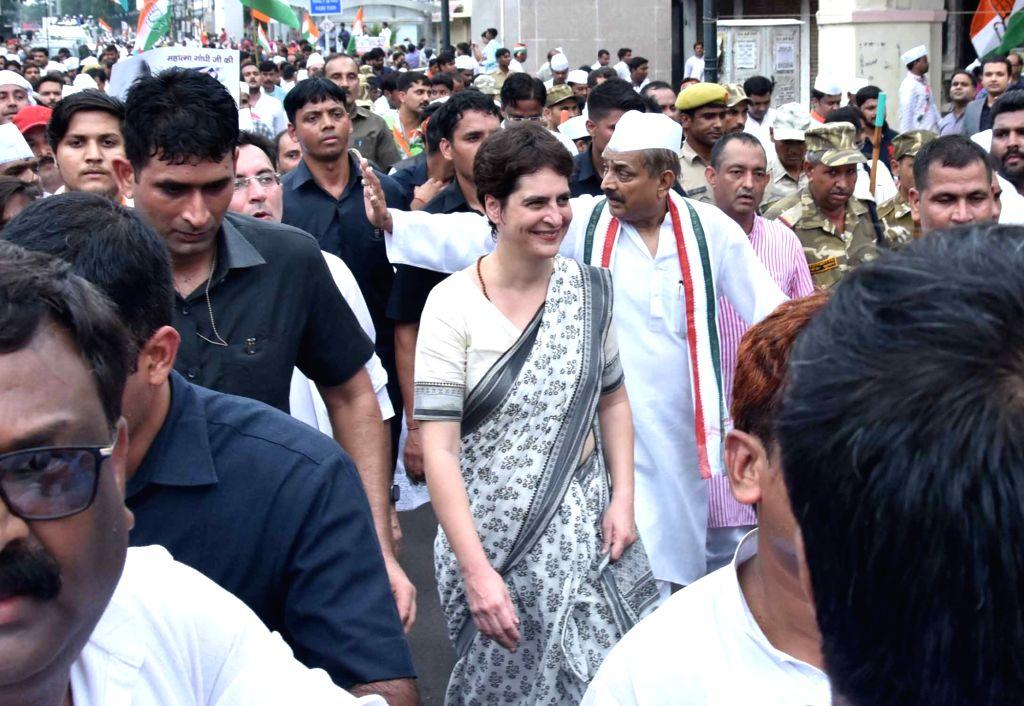 Congress leader Priyanka Gandhi leads a party rally on Gandhi Jayanti in Lucknow on Oct 2, 2019. - Priyanka Gandhi