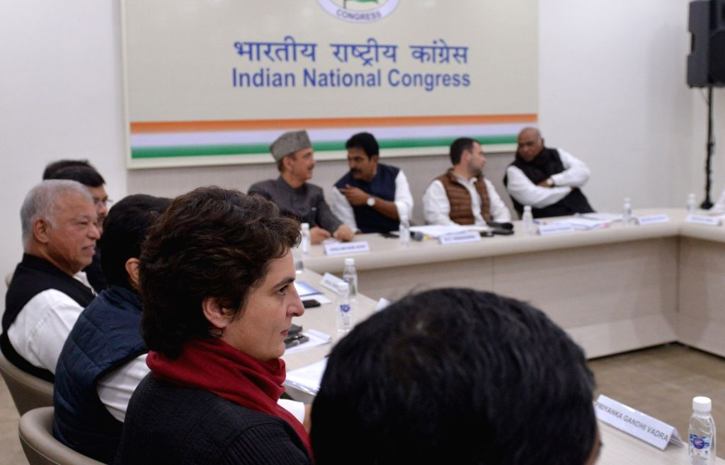 Congress leader Priyanka Gandhi Vadra along with other party leader during a meeting in New Delhi on Feb 7, 2019. - Priyanka Gandhi Vadra