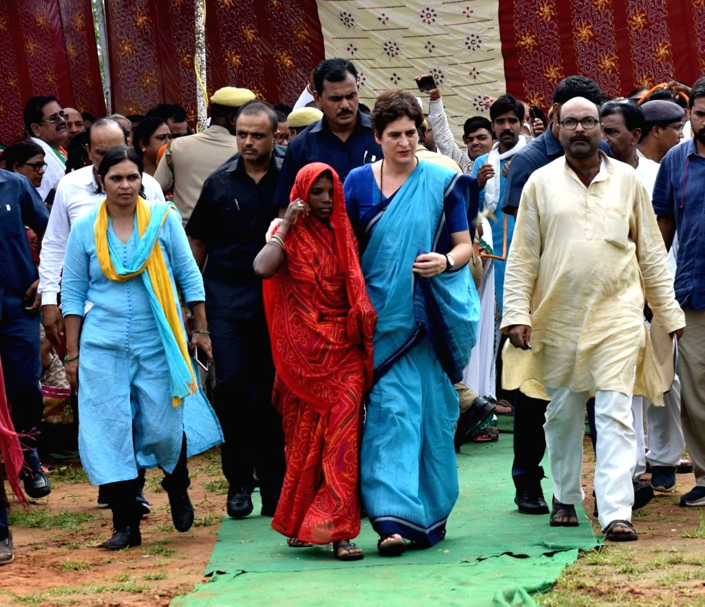 Congress leader Priyanka Gandhi Vadra arrives to meet the family members of the victims who were killed in the July 17 massacre over a land dispute in Umbha village in UP's Sonebhadra ... - Priyanka Gandhi Vadra