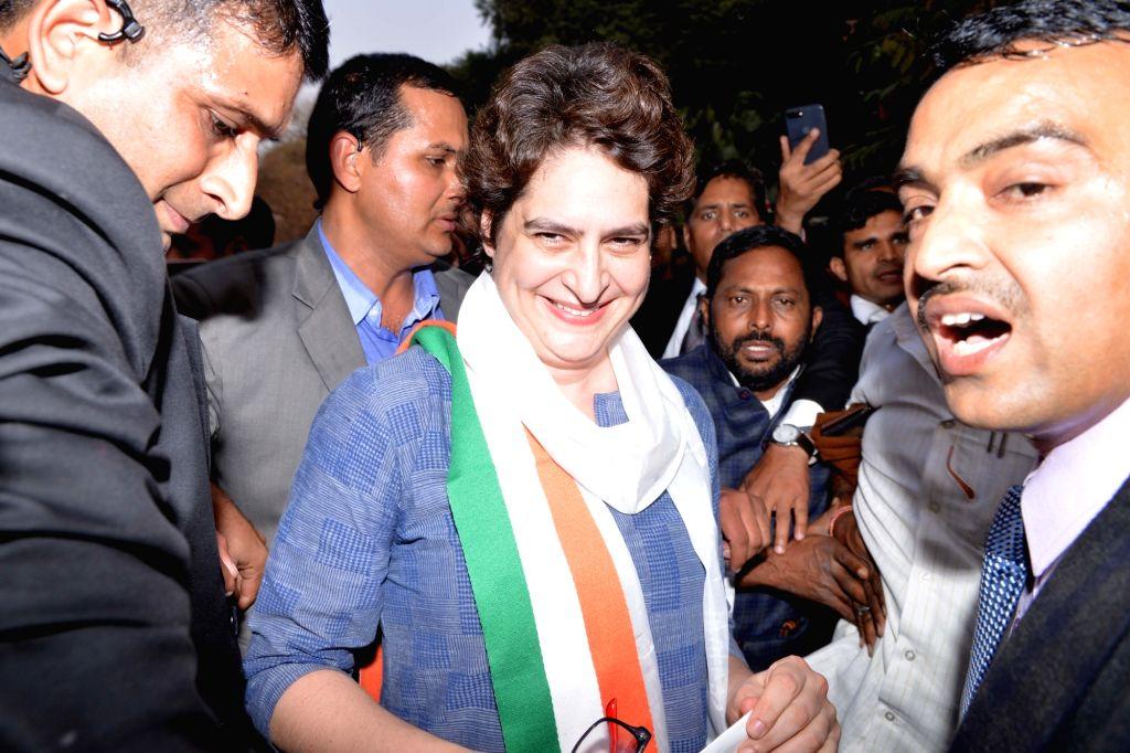 Congress leader Priyanka Gandhi Vadra at party headquarters in New Delhi on Feb 6, 2019. - Priyanka Gandhi Vadra