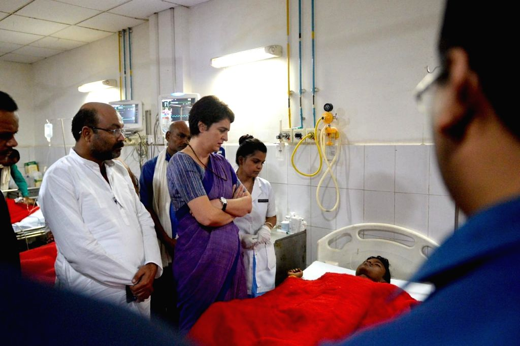 Congress leader Priyanka Gandhi Vadra visits the victims of the clash that broke out in Ubhbha village of Ghoraval tehsil in Sonbhadra district of Uttar Pradesh over a land dispute, at BHU ... - Priyanka Gandhi Vadra