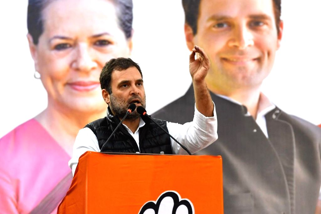 Congress leader Rahul Gandhi addresses a gathering at a public meeting organised ahead of the February 8 Delhi Assembly elections, at Delhi's Kondli on Feb 5, 2020. - Rahul Gandhi