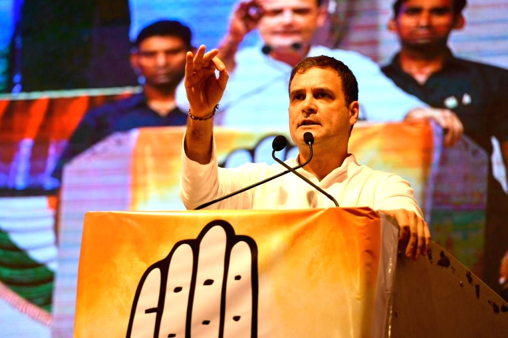 Congress leader Rahul Gandhi addresses a public meeting at Dharavi in Mumbai, on Oct 13, 2019. - Rahul Gandhi