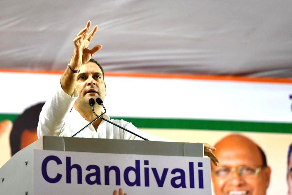 Congress leader Rahul Gandhi addresses a public meeting at Chandivali in Mumbai, on Oct 13, 2019. - Rahul Gandhi