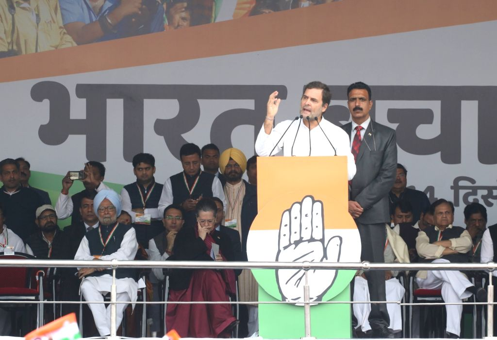 Congress leader Rahul Gandhi addresses during 'Bharat Bachao' Rally organised by the party 'against the dictatorship of the BJP government and slaughtering of Indian economy and democracy' ... - Rahul Gandhi, Manmohan Singh, Sonia Gandhi and Randeep Singh Surjewala