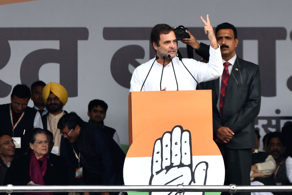 Congress leader Rahul Gandhi addresses during 'Bharat Bachao' Rally organised by the party 'against the dictatorship of the BJP government and slaughtering of Indian economy and democracy' ... - Rahul Gandhi and Sonia Gandhi