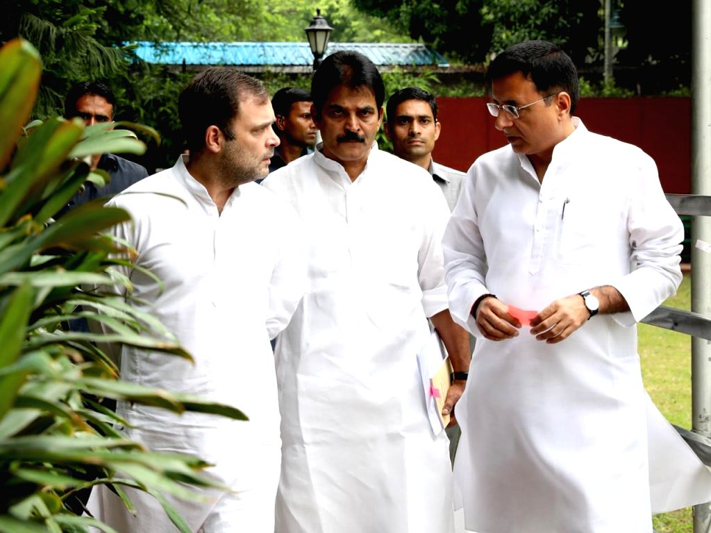 Congress leader Rahul Gandhi arrives to attend Congress Working Committee meeting in New Delhi on Aug 10, 2019. - Rahul Gandhi