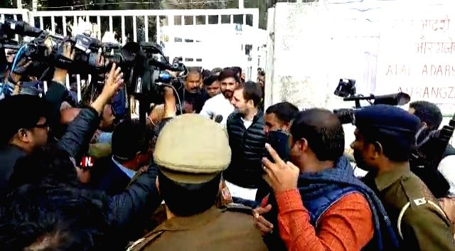 Congress leader Rahul Gandhi arrives to cast his vote for the Delhi Assembly elections 2020 at a polling booth in central Delhi's Nirman Bhawan on Feb 8, 2020. - Rahul Gandhi