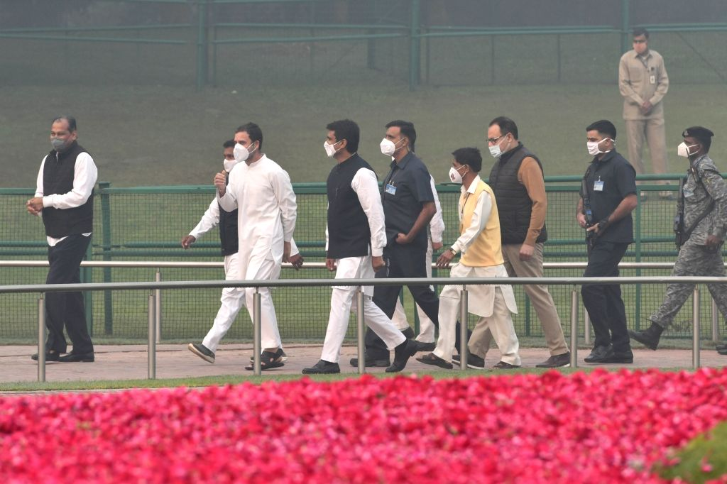 Congress leader Rahul Gandhi arrives to pay tributes to the first Prime Minister Pandit Jawaharlal Nehru on his 131st birth anniversary which is also celebrated as Children's Day, at ... - Pandit Jawaharlal Nehru and Rahul Gandhi