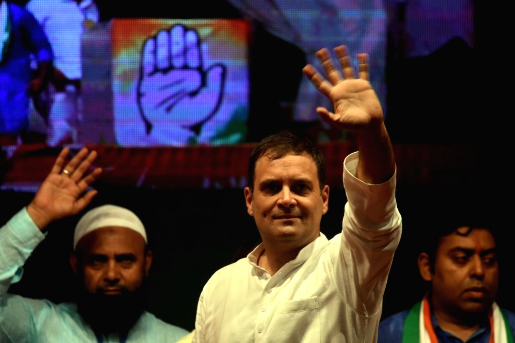Congress leader Rahul Gandhi during a public meeting at Dharavi in Mumbai, on Oct 13, 2019. - Rahul Gandhi