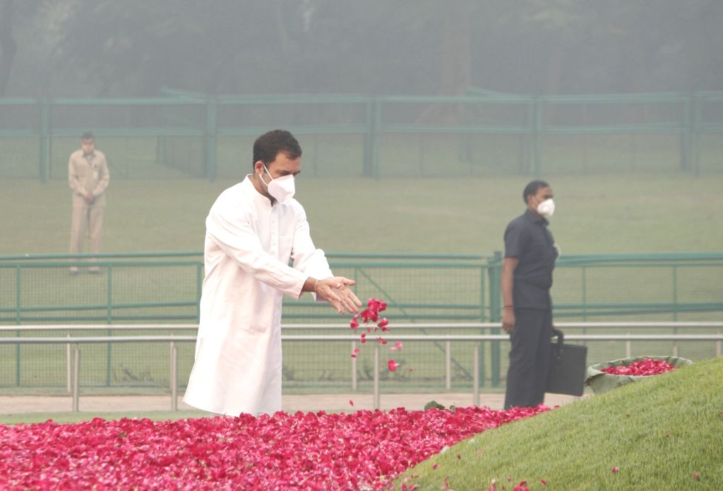 Congress leader Rahul Gandhi pays tributes to the first Prime Minister Pandit Jawaharlal Nehru on his 131st birth anniversary which is also celebrated as Children's Day, at Shantivan in ... - Pandit Jawaharlal Nehru and Rahul Gandhi