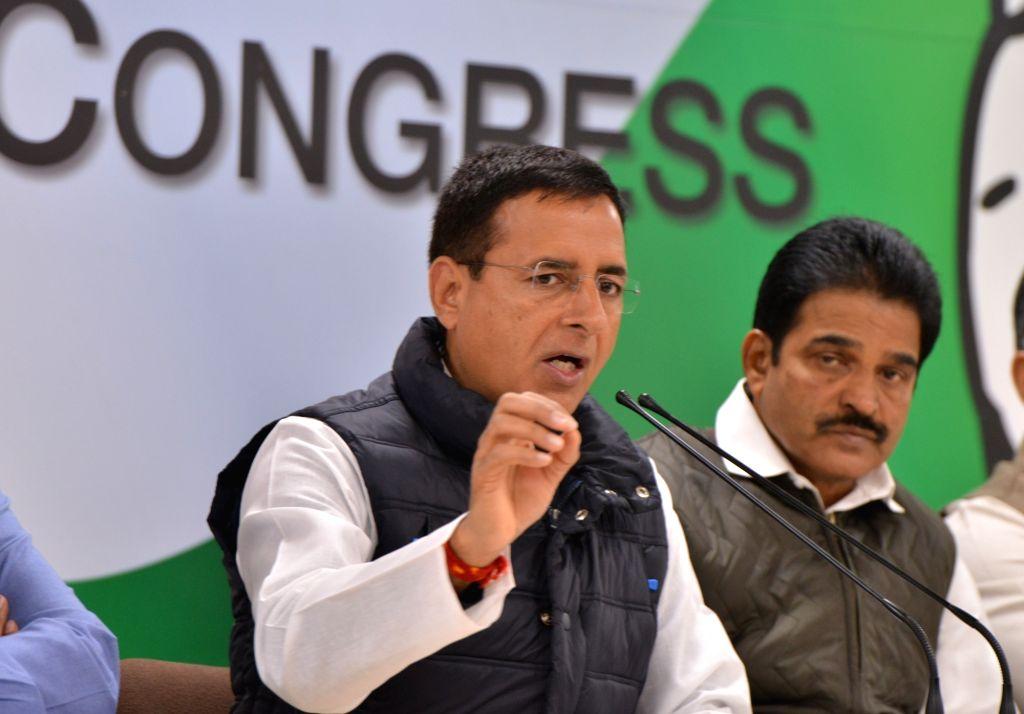 Congress leader Randeep Surjewala and K C Venugopal addressing a press conference at AICC in New Delhi on Feb.9, 2019.