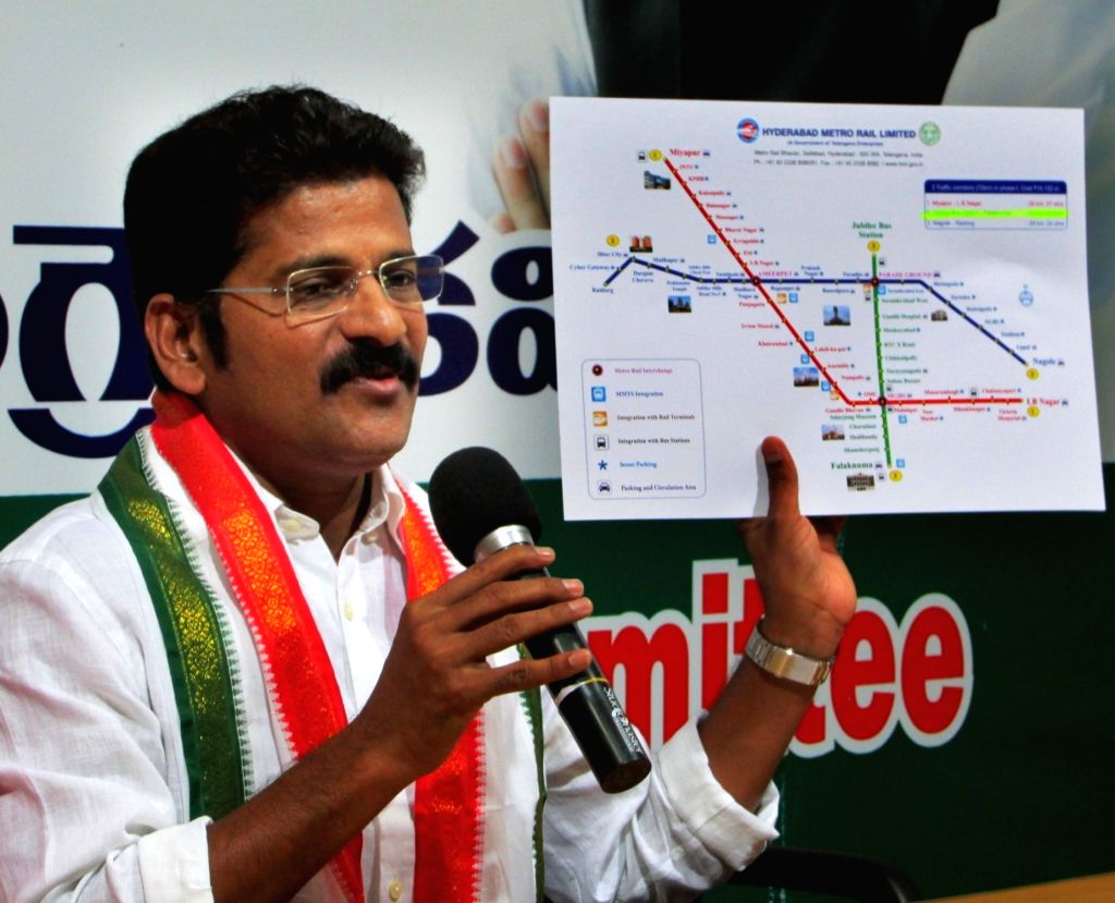 Congress leader Revanth Reddy addresses during a press conference at Gandhi Bhavan in Hyderabad on March 26, 2018. - Revanth Reddy