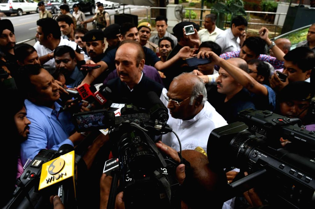 Congress leader's Ghulam Nabi Azad and Mallikarjun Kharge talks to press after meeting party chief Sonia Gandhi in New Delhi on June 16, 2017. - Sonia Gandhi