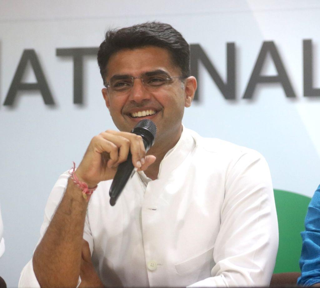 Congress leader Sachin Pilot addresses a press conference in New Delhi on Dec 14, 2018.
