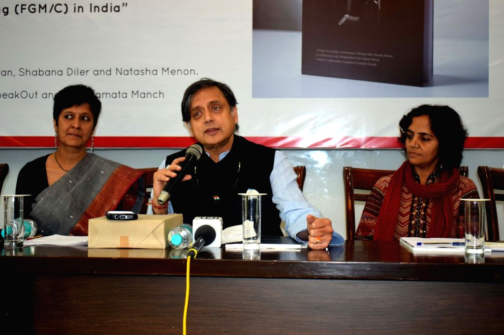 "Congress leader Shashi Tharoor after releasing the 1st qualitative study with fresh evidence of FGM/C (Female Genital Mutilation/Cutting) titled ""The Clitoral Hood a Contested Site: ... - Shashi Tharoor"