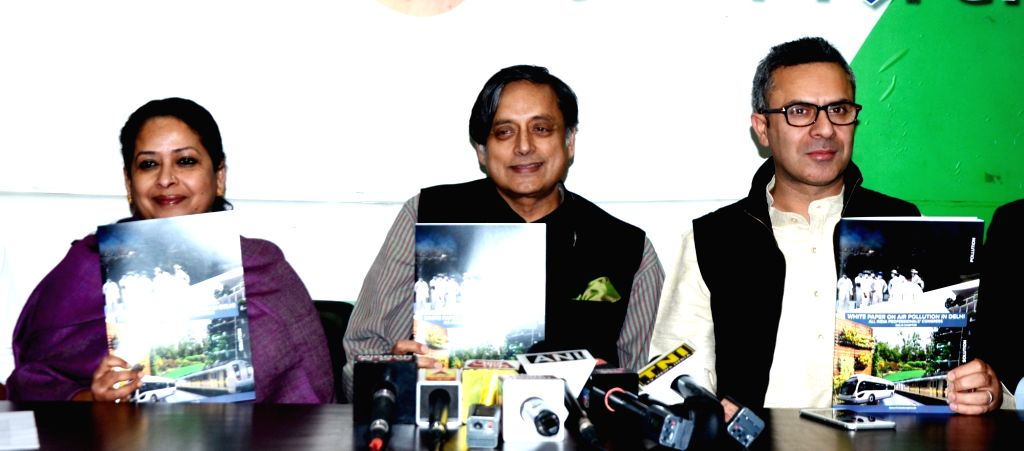 Congress leader Shashi Tharoor during a press conference regarding air pollution in New Delhi on Dec 4, 2017. - Shashi Tharoor