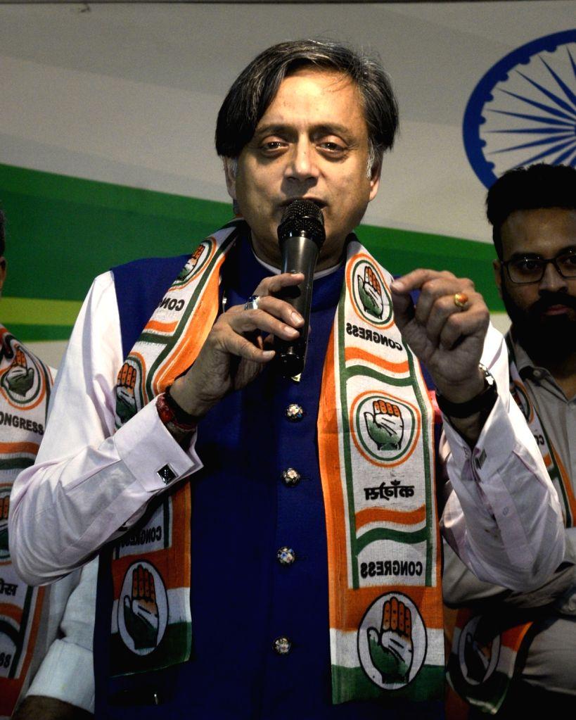 Congress leader Shashi Tharoor during an interactive session over Manifesto Consultation in Kolkata on Nov. 3, 2018. - Shashi Tharoor