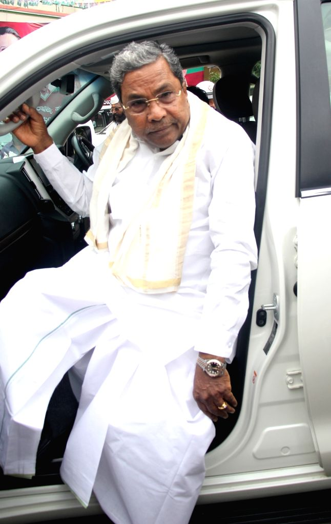 Congress leader Siddaramaiah arrives to attend Congress Co-ordination Committee meeting at party office inBengaluru, on June 29, 2018.