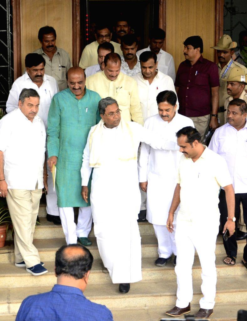 Congress leader Siddaramaiah leaves Vidhana Soudha after meeting Karnataka Assembly Speaker Ramesh Kumar in Bengaluru on July 17, 2019. - Ramesh Kumar